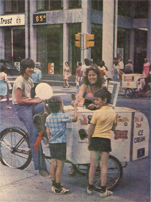 Dickie Dee serving ice cream treats in Ottawa on a hot day.