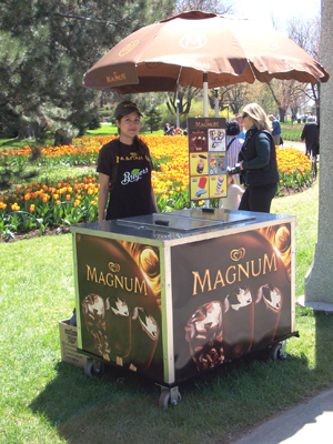 Magnum Ice Cream Cart at the Tulip Festival